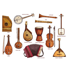 retro musical instruments set realistic design vector image