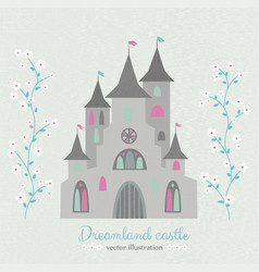 Retro style dreamland castle with white flowers vector