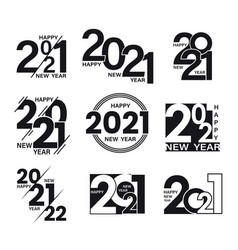 set 2021 text signs happy new year collection vector image