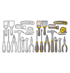 Set hardware tools engraving vector