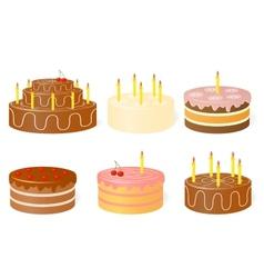 Set of birthday cake vector image