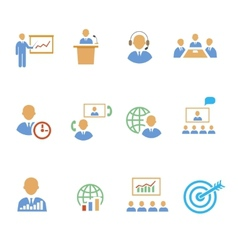 Set of colorful business people strategic icons vector image
