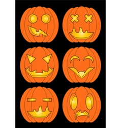 Set of pumpkins in color vector image