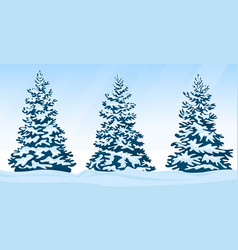 Set of snow-covered firs vector