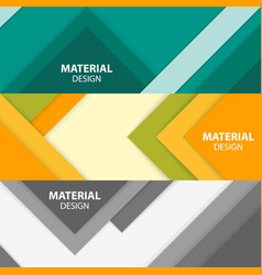 Set of three horizontal material design banners vector