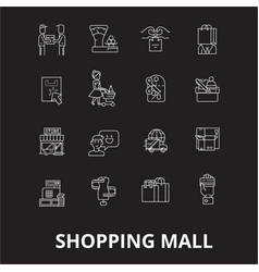 shopping mall editable line icons set on vector image