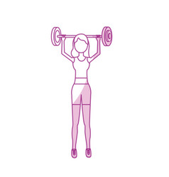 silhouette woman with dumbbell to do exercise vector image