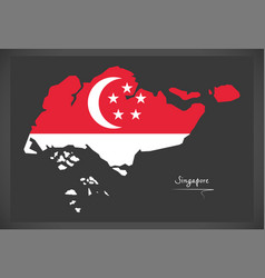 Singapore map with national flag vector