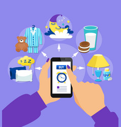 Sleep time flat symbols smartphone vector
