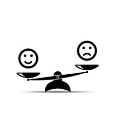 Smiley emoticons different mood on scales icon vector