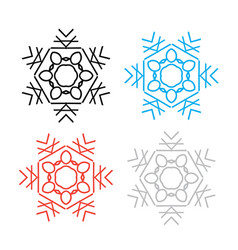 snowflake thin line icon collection vector image