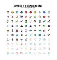 spaces and science outline icons colored set vector image