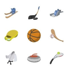 Sports equipment icons set cartoon style vector image