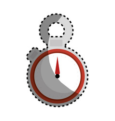Sticker color silhouette of chronometer with red vector