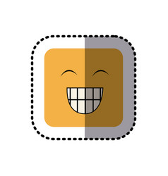 Sticker square colorful shape emoticon face vector