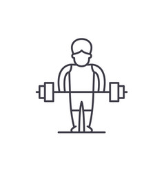 strong man line icon concept strong man vector image