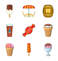 sugar-candy icons set cartoon style vector image