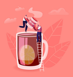 tiny male and female characters stand on ladder at vector image