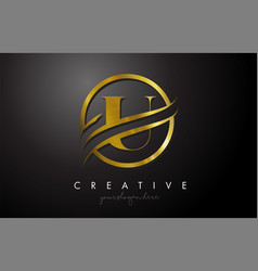 U golden letter logo design with circle swoosh vector