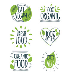 variety ecological food stickers vector image