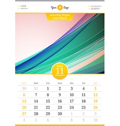 Wall Calendar 2016 November Template with Abstract vector