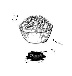 wasabi sauce in bowl drawing hand drawn vector image