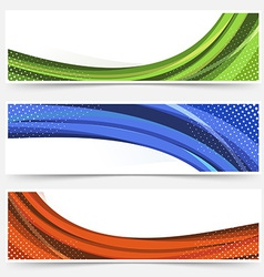 Wave line dotted web banners set vector