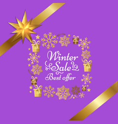 winter sale best offer poster with gift bow vector image