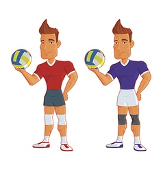 young cartoon volleyball players isolated vector image