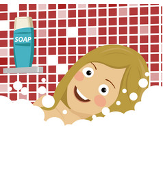 Young woman enjoying pleasant bath with foam vector