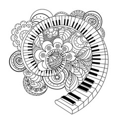 abstract musical instrument coloring book vector image vector image