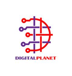 digital world logo design template abstract vector image
