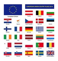 European Union country flags 2014 member states EU vector image vector image