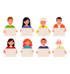 people with empty boards flat cartoon vector image