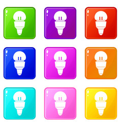 reflector bulb icons 9 set vector image vector image