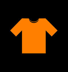t-shirt sign orange icon on black vector image