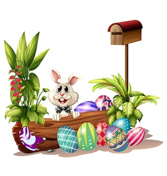 The easter bunny near the mailbox vector image vector image