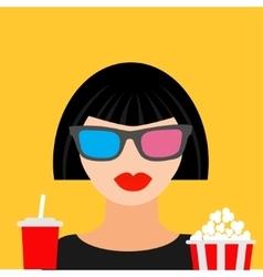 3D glasses big popcorn and soda Brunet girl vector image