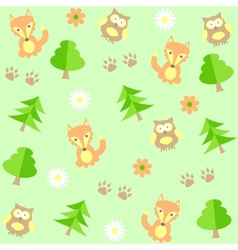 background with owls and foxes vector image