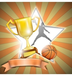 Basketball Poster With Trophy Cup vector image vector image