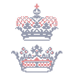 cross-stitch embroidery crowns vector image