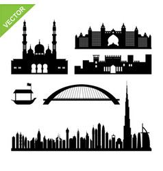 dubai uae landmark and skyline silhouettes vector image vector image