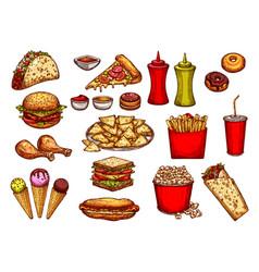 fast food burger drink and dessert sketch set vector image vector image