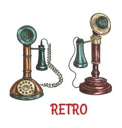 Old vintage retro phones color sketch vector image vector image
