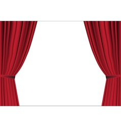 Red curtain opened on white vector image