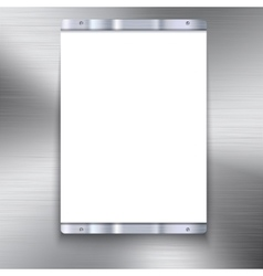 White plate with metal frame vector image