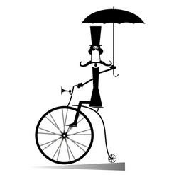 Cartoon man rides a bike vector image