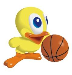duck with basketball ball vector image