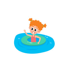 funny little girl swimming with inflatable ring vector image