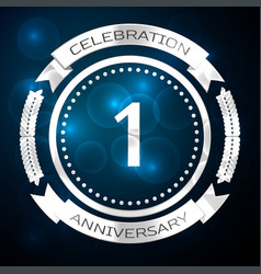 one years anniversary celebration with silver ring vector image vector image